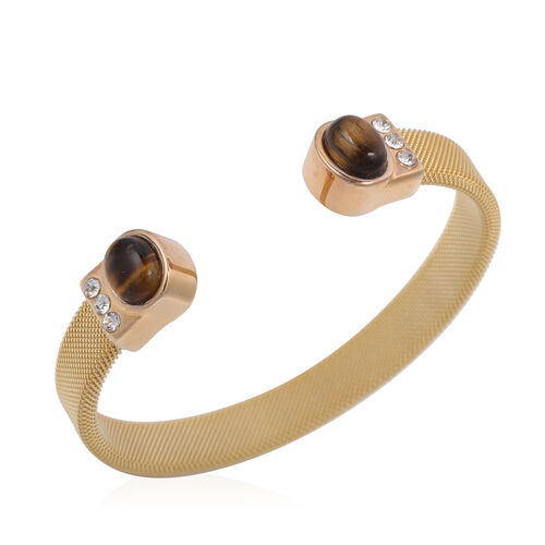 Yellow Tigers Eye and White Austrian Crystal Cuff Bangle (Size 7.5) in Gold Tone Stainless Steel