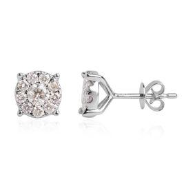 1 Carat Diamond Halo Earrings in 14K White Gold 2.7 Grams I1-I2 GH