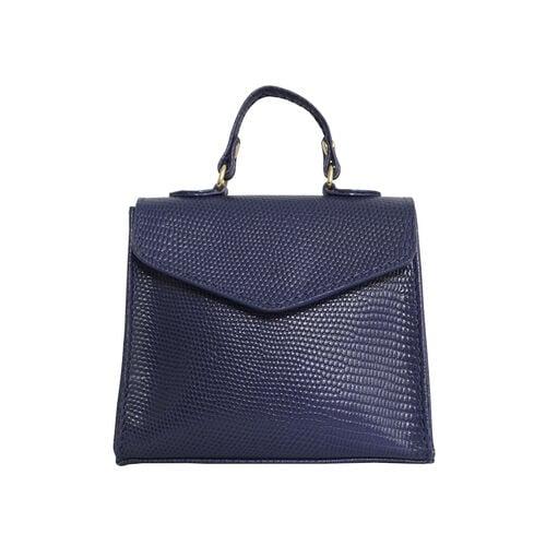 Assots London KYLIE Lizard Textured Genuine Leather Grab Bag (Size 13x2.5x10 Cm) - Navy