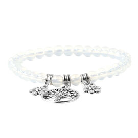 Opalite (Rnd) Stretchable Beads Bracelet (Size 7) with Charm in Antique Silver Plated 50.00 Ct.