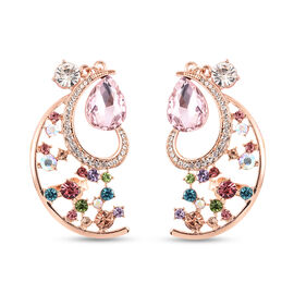 Pink and Multi Colour Crystal Climber Earrings (with Push Back) in Rose Gold Tone