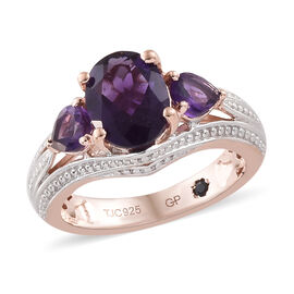 GP Amethyst (Ovl), Kanchanaburi Blue Sapphire Ring in Rose Gold and Platinum Overlay Sterling Silver 2.000 Ct.