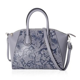 Grey Colour Embossed Flower and Leaves Pattern Tote Bag with Removable Shoulder Strap (Size 33x27x19 Cm)