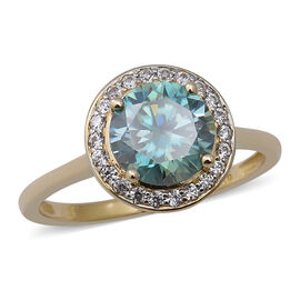 9K Yellow Gold Blue Moissanite and Natural Cambodian Zircon Halo Ring 2.17 Ct.