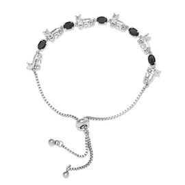 Boi Ploi Black Spinel (Ovl 2.75 Ct) Bolo Bracelet (Size 6.5 - 9.5 Adjustable) in Silver Plated 2.750
