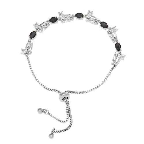 2.75 Ct Boi Ploi Black Spinel Bolo Adjustable Bracelet in Silver Plated 6.5 to 9.5 Inch