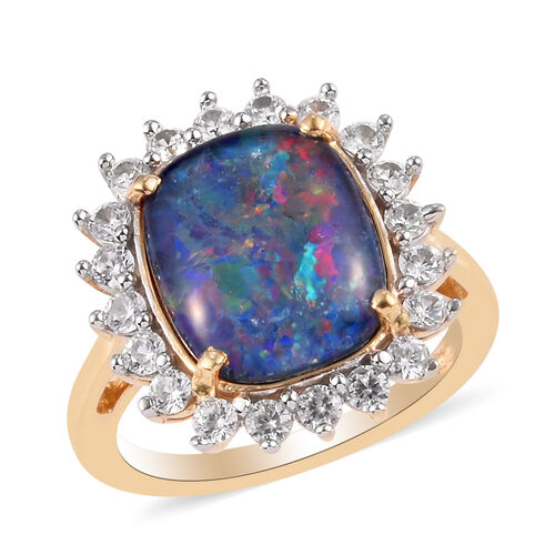 One Time Deal- Boulder Opal and Natural Cambodian Zircon Ring in 14K Gold Overlay Sterling Silver