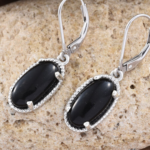 Shungite (Ovl) Lever Back Earrings in Platinum Overlay Sterling Silver 5.000 Ct.