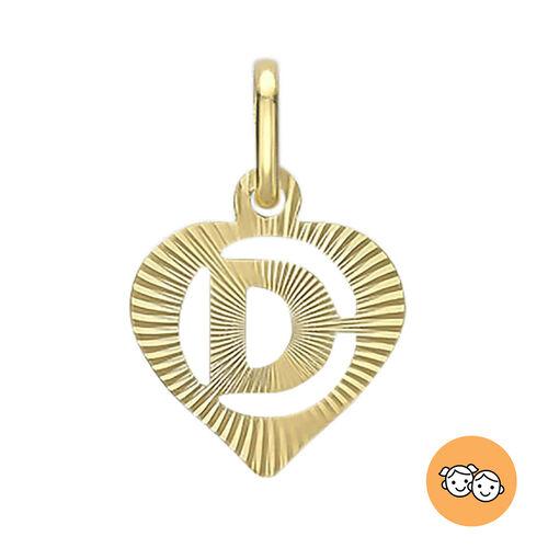 9K Yellow Gold Diamond Cut D Initial Heart Pendant
