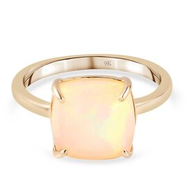 9K Yellow Gold Ethiopian Welo Opal Solitaire Ring 3.100 Ct.