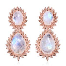17.25 Ct Sri Lankan Rainbow Moonstone Tear Drop Earrings in Rose Gold Plated Silver 7.52 Grams