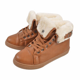 Womens Flat Faux Fur Lined Grip Sole Winter Ankle Boots - Brown