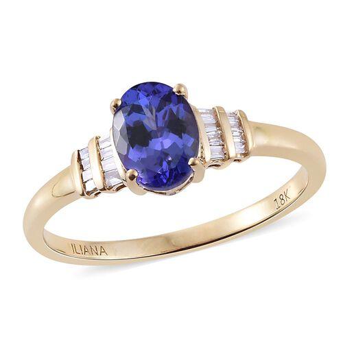 ILIANA 18K Yellow Gold AAA Tanzanite (Ovl 1.35 Ct), Diamond (SI/G-H) Ring 1.500 Ct.