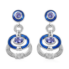 AA Tanzanite Enamelled Earrings (with Push Back) in Platinum Overlay Sterling Silver 1.50 Ct, Silver