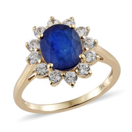 2.85 Ct AAA Blue Spinel and Natural Cambodian Zircon Halo Ring in 9K Gold