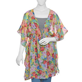 Designer Inspired Yellow, Pink and Multi Colour Flower and Leaves Pattern Kaftan (Size 80x65 Cm)