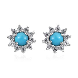 Arizona Sleeping Beauty Turquoise (Rnd), Natural Cambodian Zircon Earrings (with Push Back) in Plati