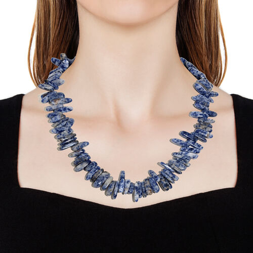 One Time Deal-Sodalite Necklace (Size 20) in Platinum Overlay Sterling Silver  412.000  Ct.