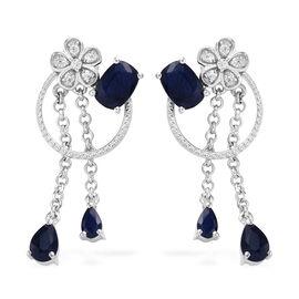GP 4 Carat Multi Gemstones Drop Earrings in Platinum Plated Sterling Silver 4.8 Grams With Push Back