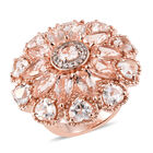 Limited Edition - Maroppino Morganite (Pear), White Topaz Cluster Ring (Size M) in Vermeil Rose Gold Overlay