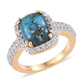 4.25 Ct Persian Turquoise and Cambodian Zircon Ring in Gold Plated Sterling Silver