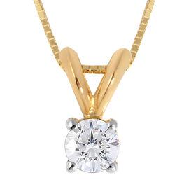 ILIANA 18K Yellow Gold Diamond (Rnd) (I1/ G-H) Pendant with Chain (Size 18) 0.250 Ct.