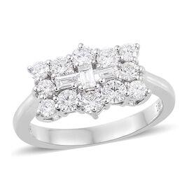 ILIANA 18K White Gold IGI Certified Diamond (Rnd and Bgt) (SI / F-G) Boat Ring 1.00 Ct.