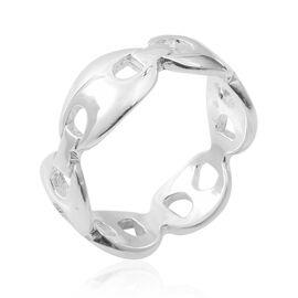 Designer Inspired- Sterling Silver High Polished Mariner Link Ring, Silver wt 3.95 Gms.