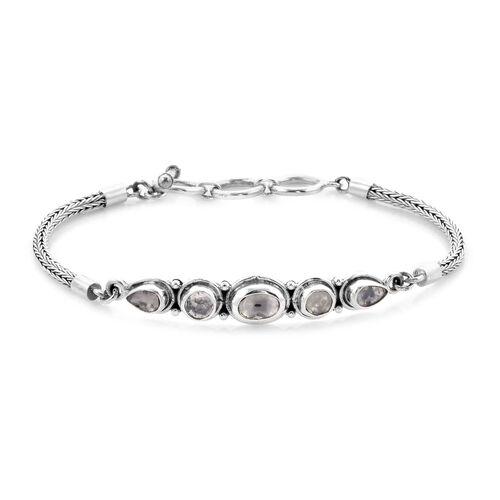 Royal Bali Collection Polki Diamond Tulang Naga Bracelet (Size 7.5) in Sterling Silver 1.35 Ct, Silver wt 11.62 Gms
