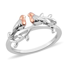 Platinum and Rose Gold Overlay Sterling Silver Couple Bird Ring
