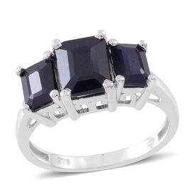 Madagascar Blue Sapphire (Oct 3.78 Ct) 3 Stone Ring in Rhodium Plated Sterling Silver 6.780 Ct.