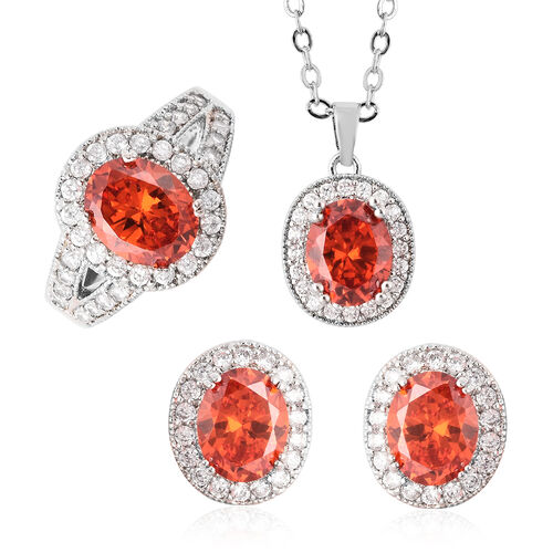 3 Piece Set- Simulated Orange Sapphire, Simulated Diamond Ring, Earrings (with Clasp) and Pendant Wi