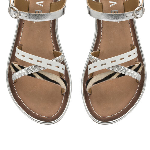 Ravel Cudal Leather Flat Sandals (Size 8) - Silver