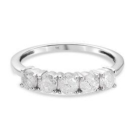 9K White Gold SGL Certified Diamond (I3/ G-H) 5 Stone Ring 0.82 Ct