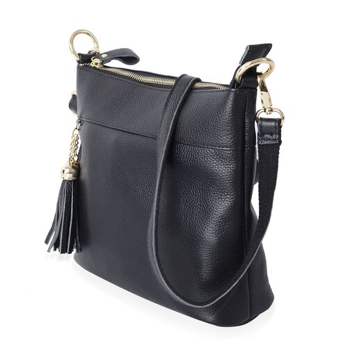 Super Soft 100% Genuine Leather Full Tassels Black Cross Body Bag with Adjustable and Removable Shoulder Strap (Size 23x20x7.5 Cm)