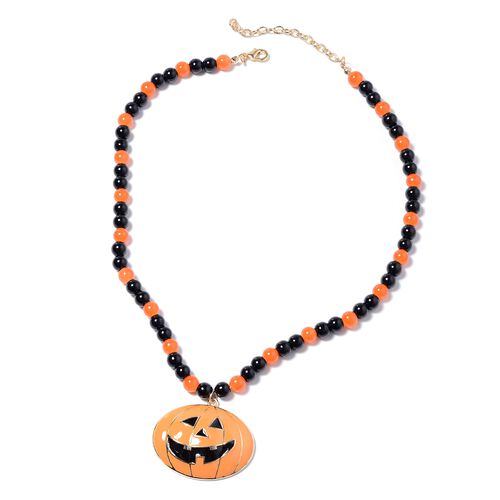 3 Piece Set - Simulated Black Spinel, Simulated Orange Sapphire Enamelled Pumpkin Charm Beads Necklace (Size 23 with Extender), Stretchable Bracelet (Size 7) and Hook Earrings