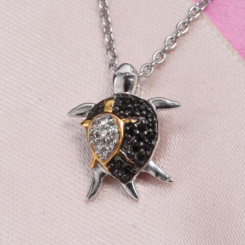 Boi Ploi Black Spinel (Rnd), Natural Cambodian Zircon Mother and Baby Turtle Pendant with Chain in Platinum and Yellow Gold Overlay Sterling Silver 0.25 Ct.