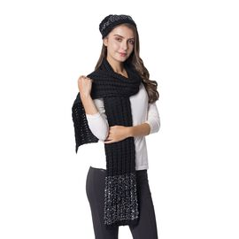 2 Piece Set - Black and Silver Colour Hat (Size 23 Cm) and Scarf (Size 190x35 Cm)