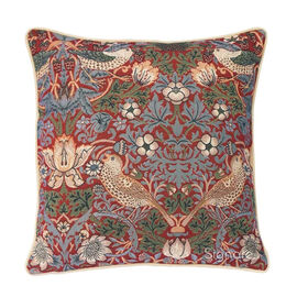 Signare William Morris - Strawberry Thief Red Pattern Cushion Cover  (44x44 cm)