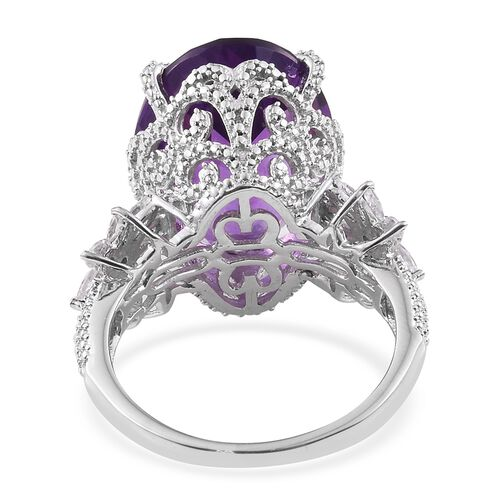 Amethyst (Ovl), Natural Cambodian Zircon Ring in Platinum Overlay Sterling Silver 18.250 Ct. Silver wt 6.65 Gms.