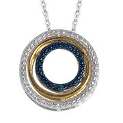 Blue and White Diamond (Rnd) Pendant With Chain in Yellow Gold and Platinum Overlay Sterling Silver