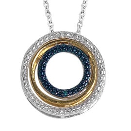 Designer Inspired - Blue and White Diamond (Rnd) Triple Circle Pendant With Chain (Size 18) in Platinum Overlay Sterling Silver