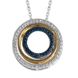 Blue and White Diamond Triple Circle Pendant with Chain in Sterling Silver 2.85 Grams 18 Inch