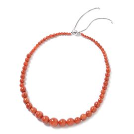 297 Ct Red Jade Adjustable Beaded Necklace in Rhodium Plated Sterling Silver 18 to 22 Inch
