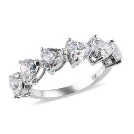 J Francis - 9K White Gold (Hrt) Ring Made with SWAROVSKI ZIRCONIA 2.64 Ct.