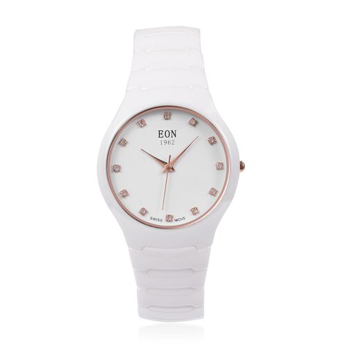 EON 1962 Swiss Movement 3ATM Water Resistant Studded Simulated Diamond Watch with White Ceramic Stra