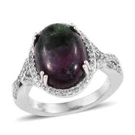 7.75 Ct Ruby Zoisite and Zircon Halo Ring in Platinum Plated Silver