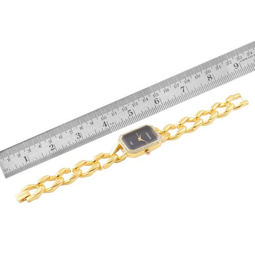 STRADA Japanese Movement Black Dial White Austrian Crystal Studded Water Resistant Watch in Gold Tone with Stainless Steel Back and Chain Strap