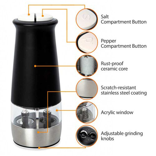 2 in 1 Stainless Steel Electric Salt and Pepper Mill with Two Compartments (6xAAA Battery not Included) - Black