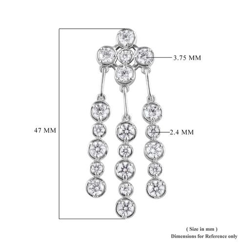 J Francis - Platinum Overlay Sterling Silver Chandelier Earrings Made with SWAROVSKI ZIRCONIA 11.68 Ct, Silver wt 9.20 Gms